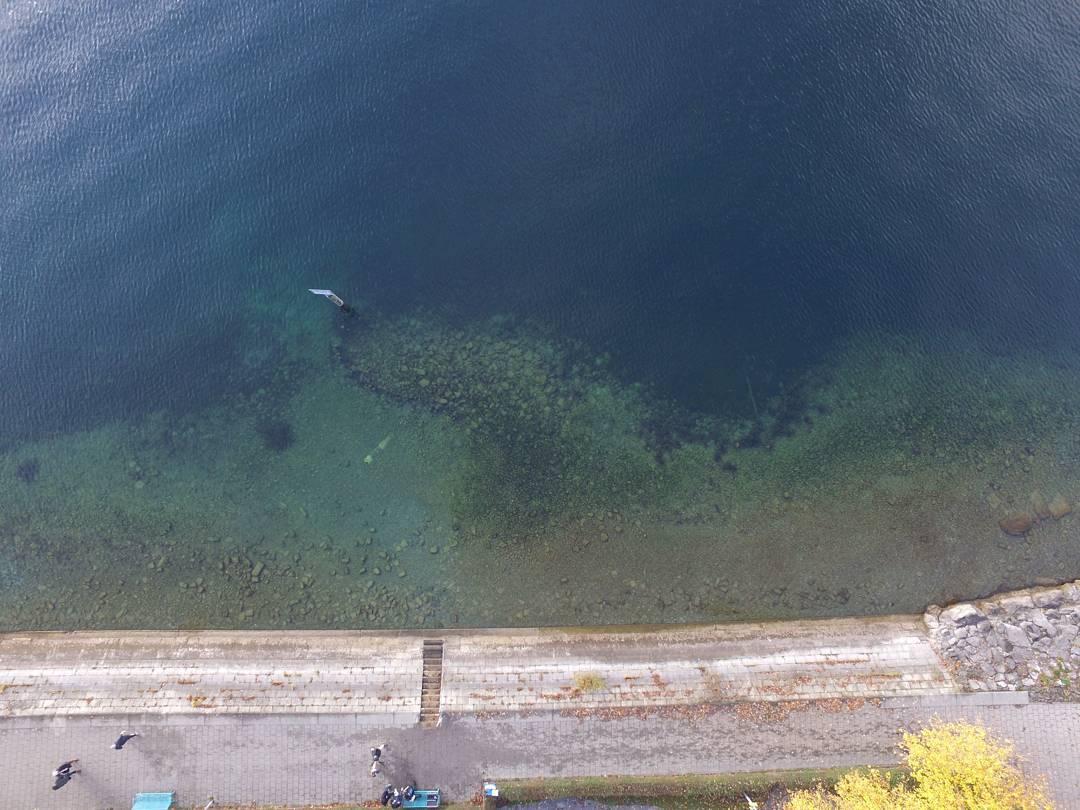 Tauchplatz Überlingen Parkhaus Post vom Wasser und aus der Luft aus betrachtet