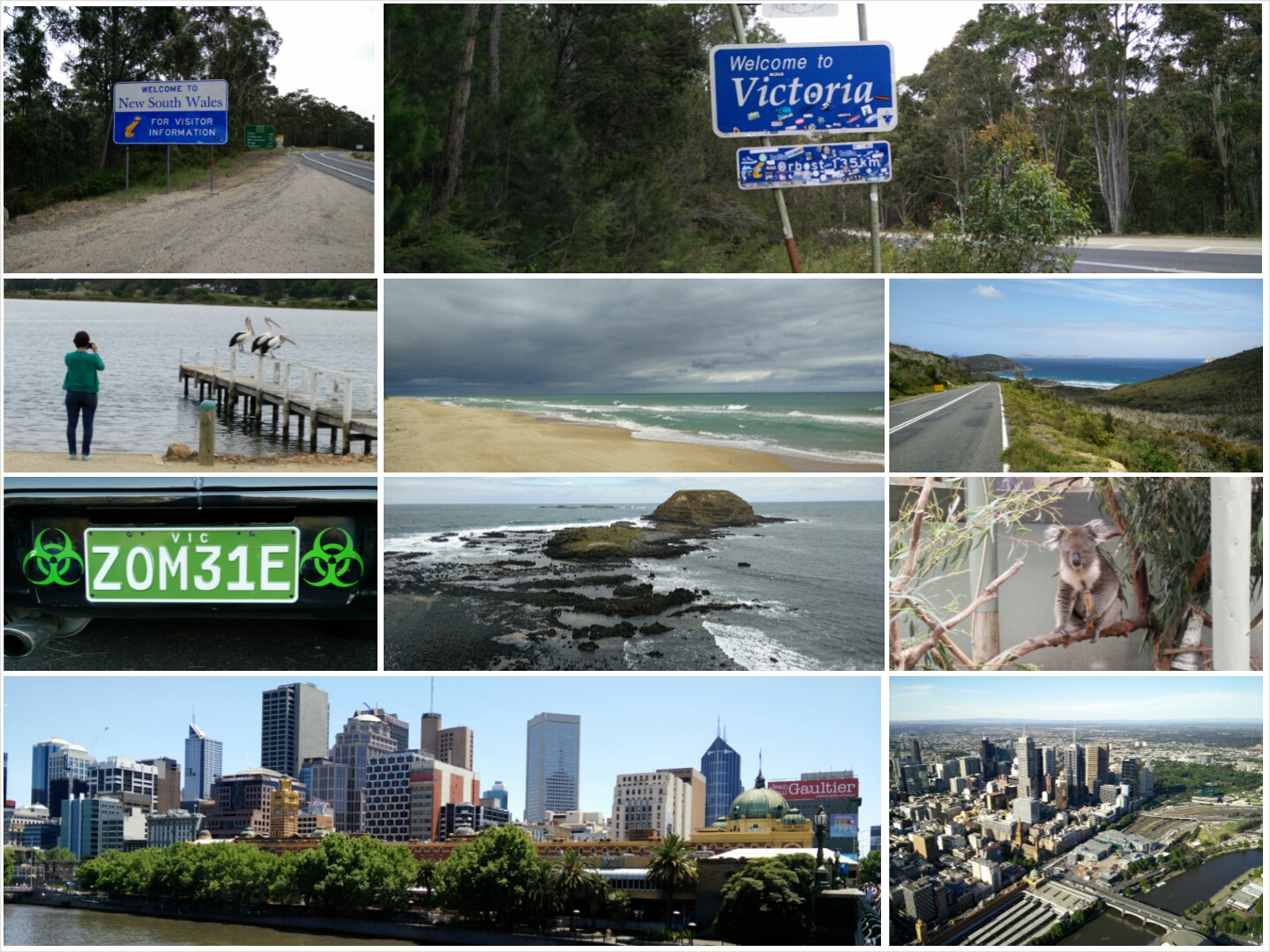 Collage: NSW VIC Border, Melbourne...