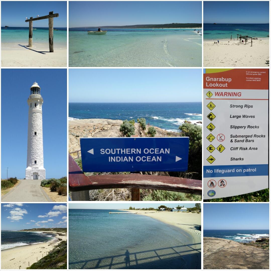Collage: Hamelin Bay, Cape Leeuwin, Busselton...