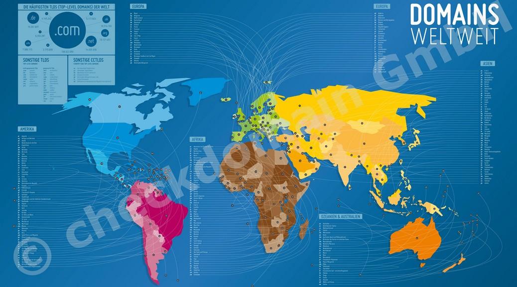 Domain-Weltkarte von checkdomain.de für Blogger gratis